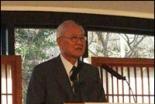 小原十三司牧師召天記念特別礼拝で記念説教をする金俊坤博士=28日午前11時10分、東京・淀橋教会で