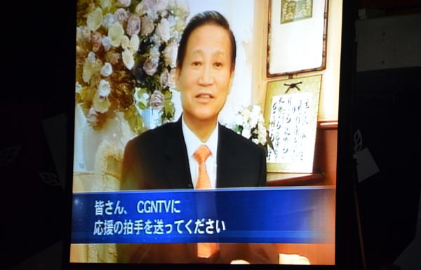 ビデオレターで日本CGNTVの働きを紹介する故河用祚氏=17日、東京都新宿区のウェスレアン・ホーリネス教団淀橋教会で
