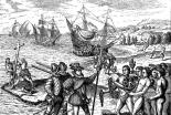 1590年に印刷された「アメリカの発見」の様子。コロンブスが先住民族の領土に十字架を打ち立てている。