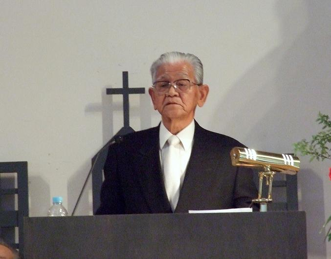 説教を行った堀越暢治氏=9日、東京基督教大学(千葉県印西市)で
