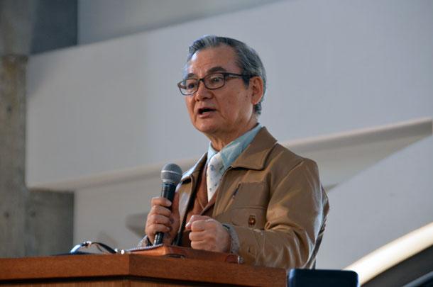 「基本に立ち返る」と題して講演する中川健一氏=20日、東京都新宿区の淀橋教会で<br />