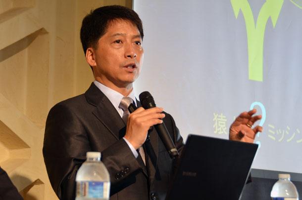 講演する地質学者のイ・ジェマン氏=4月29日、東京都新宿区のウェスレアン・ホーリネス教団淀橋教会で