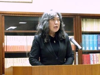 NCCドイツ委員会委員長の菊地純子氏。富坂キリスト教センター(東京都文京区)で。2012年4月27日。