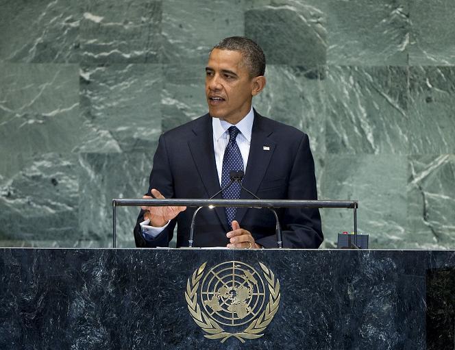 国連総会で演説するオバマ米大統領=25日(写真:国連)
